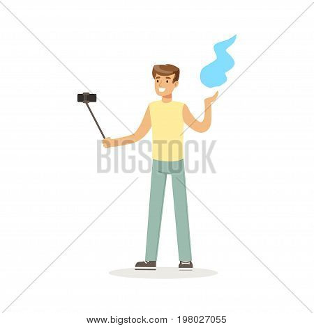 Young man in casual clothes making selfie with a selfie stick while dancing Indian dance colorful character vector Illustration on a white background
