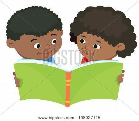 Cartoon kids reading book boy girl isolated vector illustration Ebony African Africa