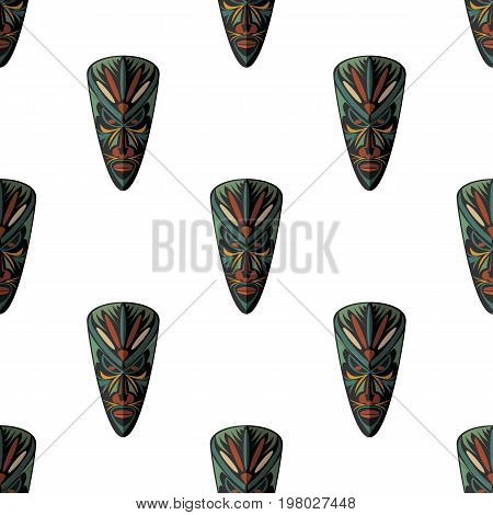 African mask seamless pattern vector illustration background. Flat icon. Ritual symbol.