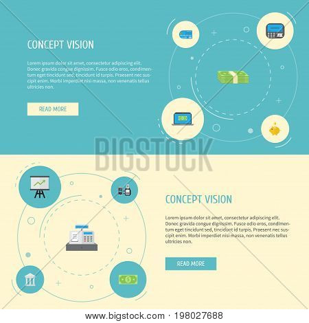 Flat Icons Computer, Money, Till And Other Vector Elements