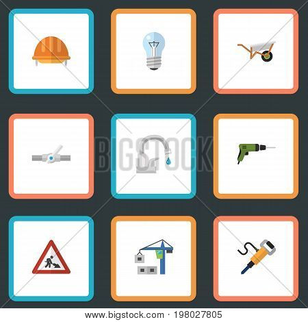 Flat Icons Hoisting Machine, Caution, Hardhat And Other Vector Elements