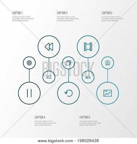 Music Outline Icons Set. Collection Of Gamepad, Chart, Backward And Other Elements