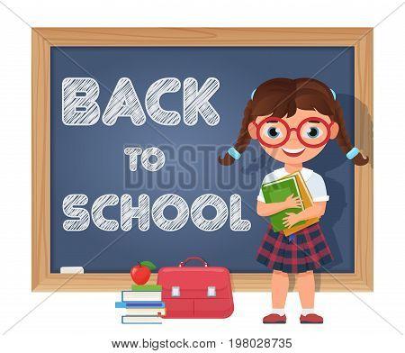 Back to school. Schoolgirl, chalkboard and school supplies. Cute cartoon pupil girl character. Vector illustration