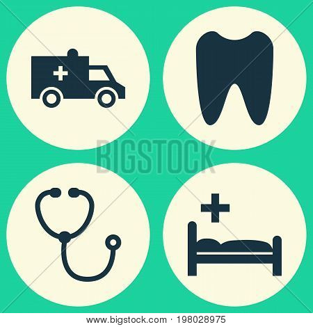 Medicine Icons Set. Collection Of Bus, Claw, Polyclinic And Other Elements