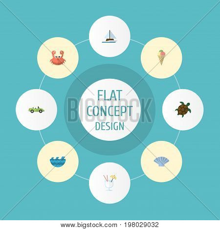 Flat Icons Sea, Tortoise, Car And Other Vector Elements
