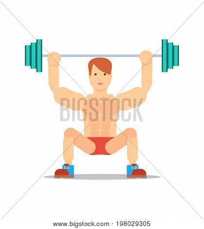 Sporty boy lifting barbell isolated on white background vector illustration. Bodybuilding exercise, crossfit training concept in flat design.