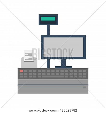 Supermarket store counter desk icon. Cash desk with computer terminal isolated vector illustration.