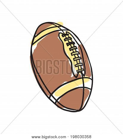 American football ball hand drawn icon isolated on white background vector illustration. American ethnic culture element, traditional symbol.