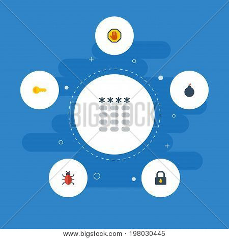 Flat Icons Explosive, Clue, Padlock And Other Vector Elements