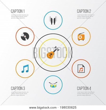 Music Flat Icons Set. Collection Of Acoustic, Broadcasting, Tone And Other Elements