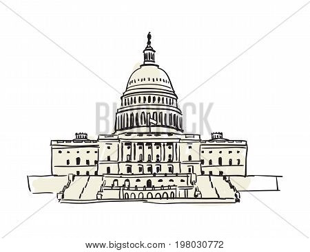 USA Capitol building in Washington hand drawn icon isolated on white background vector illustration. American ethnic culture element, traditional symbol.