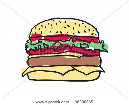 American fast food, cheeseburger hand drawn icon isolated on white background vector illustration. American ethnic culture element, traditional symbol.