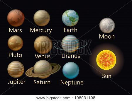 Collection of vector planets of the solar system. Set of stylized planets. Astronomy.
