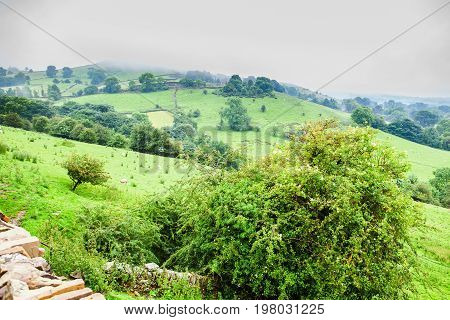 Rural views of Rainow, near Macclesfield, Cheshire, United Kingdom, selective focus