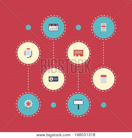 Flat Icons Id, Placard, Letter And Other Vector Elements