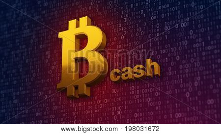 3d illustration of bitcoin cash, new virtual money on digital background.
