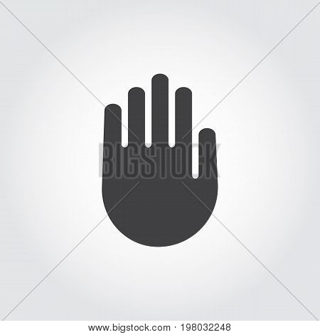 Human palm black flat icon. Symbol of stop sign, warning, lock. Web graphic hand pointing label. Vector illustration for websites, mobile apps, games and other design projects