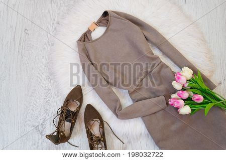 Gray Suede Dress, Brown Shoes And A Bouquet Of Tulips. Fashionable Concept