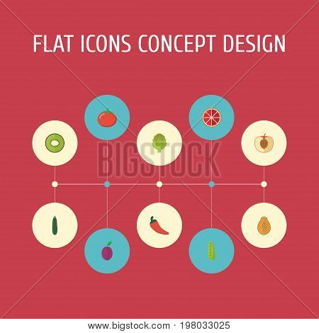 Flat Icons Exotic Dessert, Orange, Herbaceous Plant And Other Vector Elements