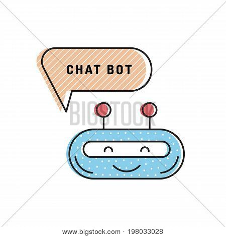Icon chatbot, robot for automated social networking and mobile applications. Avatar technical support.