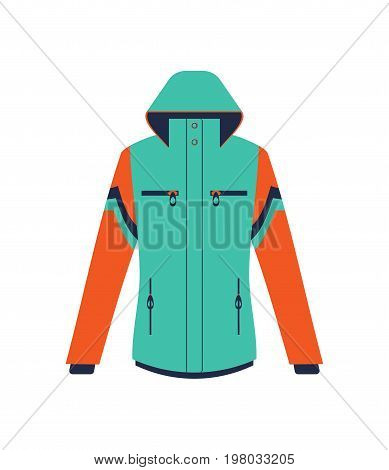 Climbing winter jacket isolated vector icon. Outdoor activity, nature traveling equipment element.