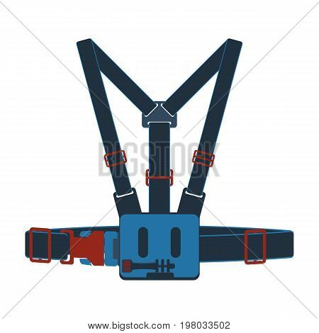 Action camera head strap mount isolated vector icon. Outdoor activity, nature traveling equipment element.