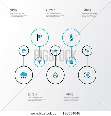 Climate Colorful Icons Set. Collection Of Sunny, Wind, Drizzle And Other Elements