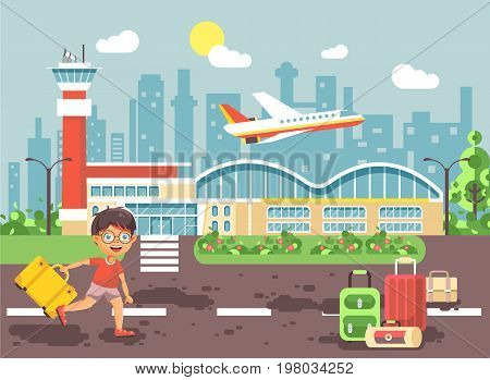 Stock vector illustration cartoon character late delay boy runs to bags and suitcases standing at airport, departing plane, awaiting for travel trip holiday weekend flat style city background
