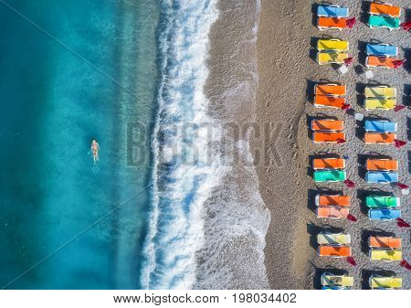 Aerial View Of Swimming Woman In The Sea