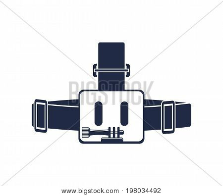 Head strap for camera isolated vector icon. Outdoor activity, nature traveling equipment element.