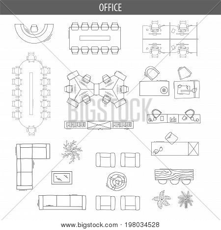 Set of linear icons for Interior top view plans. Isolated Vector Illustration. Furniture and elements for living room, bedroom, kitchen, office. Floor plan. Sketch of furniture