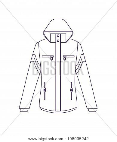 Touristic adventure jacket isolated vector icon. Outdoor activity, nature traveling equipment element.