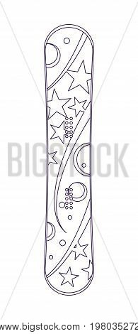 Snowboard isolated vector linear icon. Outdoor activity, nature traveling, snowboarding equipment element.