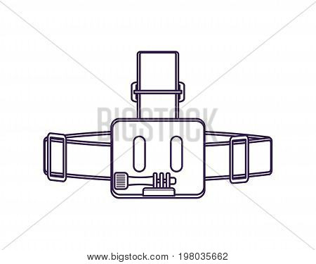 Action camera head strap isolated vector icon. Outdoor activity, nature traveling equipment element.