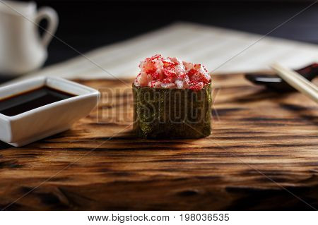 Japanese Food. Appetizing Piquant One Nigiri Sushi With Tuna And