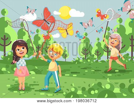 Stock vector illustration cartoon character children, young naturalists, biologist boys and girls catch colorful butterflies with nets, scoop-nets, hoop-nets on nature outdoor background in flat style