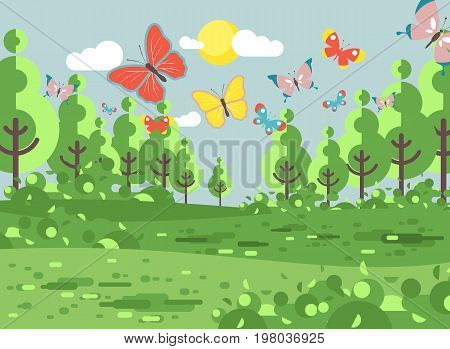 Stock vector illustration cartoon landscape of clearing, meadow, grassland, field, grass, lea, mead with trees lawn colorful butterflies, nature outdoor background flat style for banner, motion design