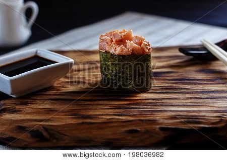 Appetizing Fresh One Nigiri Sushi With Spicy Redfish, Served On