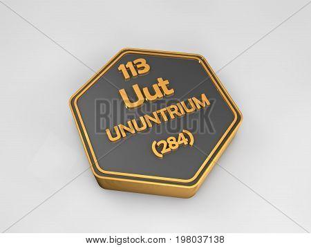 ununtrium - Uut - chemical element periodic table hexagonal shape 3d render