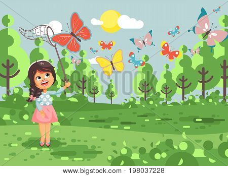 Stock vector illustration cartoon character lonely child, young naturalist, biologist brunette girl catch colorful butterflies with net, scoop-net, hoop-net on nature outdoor background in flat style