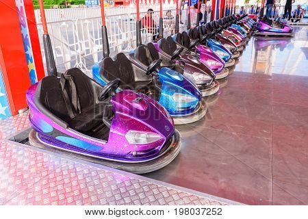 Colorful of Bump car in amusement park