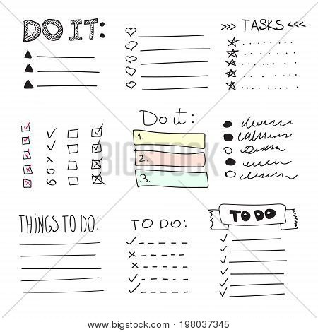 Collection of vector isolated outline hand drawn check to do list, bullet, check mark and check box in a doodle sketch cartoon style. Set of paper note with task plan.
