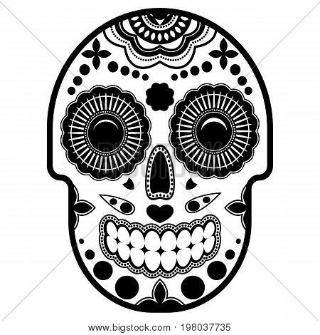 Day of the dead sugar skull with ornament. Bright ornament. Isolated white background. Thick outline. Vector illustration.