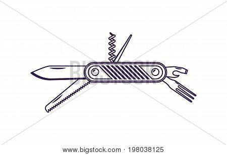 Travel jackknife icon isolated vector illustration. Campsite equipment, multi tool steel in flat design. Hiking traveling, nature vacation concept.