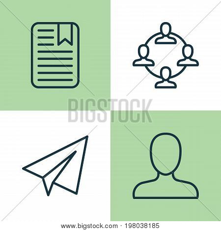 Communication Icons Set. Collection Of Startup, Note Page, Team Organisation And Other Elements