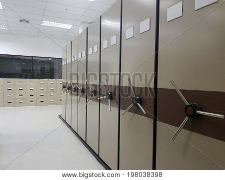 File folders in a filing cabinet for document storage