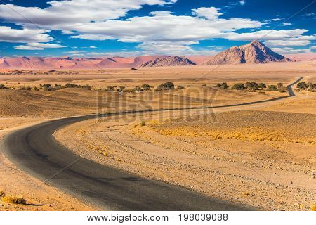 The most ancient desert in the world is Namib. The highway passes through the park. The concept of exotic car tourism