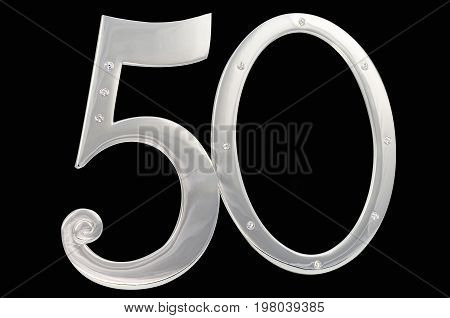 Silver photo frame birthday 50 anniversary of isolation on a black background