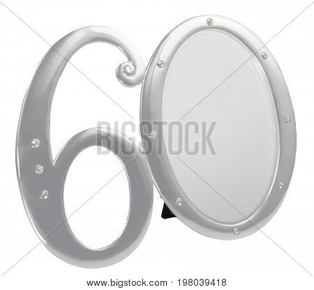 Silver photo frame birthday 60 anniversary of isolation on a black background