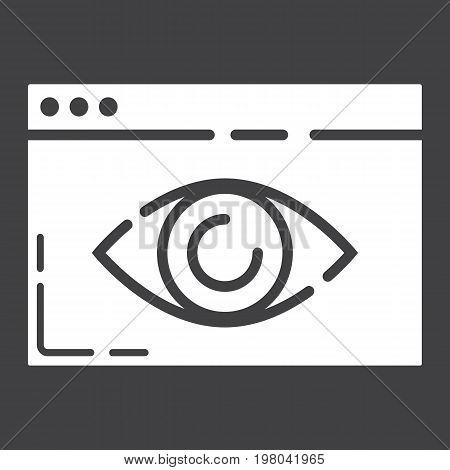 Web Visibility glyph icon, seo and development, browser sign vector graphics, a solid pattern on a black background, eps 10.